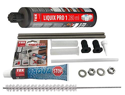 TOX Schwerlast Befestigungsset Abstandsmontagesystem fur Beton Thermo Proof Plus 2 x M12 A4 mit mit Aqua-Stop + Verbundmörtel Liquix Pro 1 + Zylinderbürste