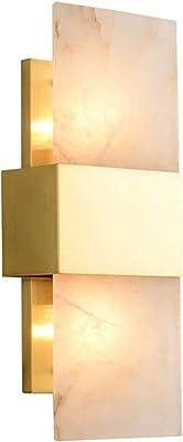 Samanth Applique de Mode 2 lumières E14 Socket Accessoires Applique Murale Moderne Minimaliste Murale de marbre Moderne Cuivre Luxe de Luxe Lampe Lampe Salon Personnalité Lampe Murale rectangulaire
