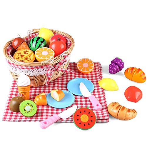 BeebeeRun Kinder Lebensmittel Spielzeug, Küchenspielzeug Schneiden Sie Obst Dessert mit Picknickkorb aus Holz und Picknickmatte, Kinder-Rollenspiele, Geschenke Für Jungen Mädchen ab 3 Jahren