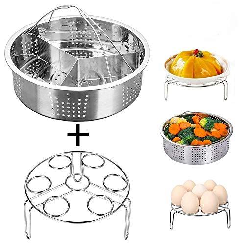 Smooce Dampfkochtopf Zubehör Steamer Korb mit Egg Steamer Rack, Teiler, passt Instant Pot 5,6,8 qt Schnellkochtopf, Edelstahl, 3 Stück Set