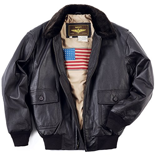 Landing Leathers Men's Navy G-1 Leather Flight Bomber Jacket Brown Large