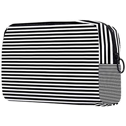 Neceser con cremallera, bolsa de maquillaje reutilizable de gran capacidad, bolsa de viaje con rayas blancas y negras para adolescentes y mujeres