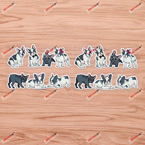 Cute French Bulldogs Frenchie France Vinyl Decal Sticker - 7 Dogs, 2 Pack Glossy, 6 Inches of Whole Sheet - for Car Boat Laptop