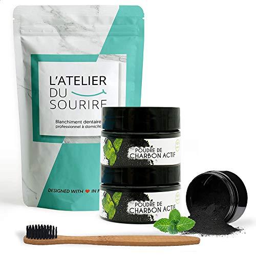 2 poudres de blanchiment L'ATELIER DU SOURIRE + brosse a dents en bambou naturel - charbon actif 15g x2 - dents naturellement blanches [blanchiment des dents]. (Menthe)