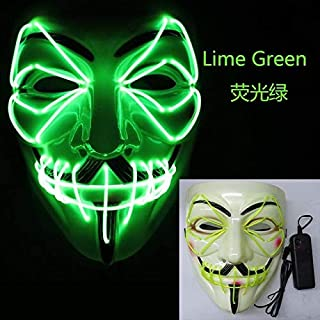 TANGGOOO Up Luminous Mask Glowing Cool V for Vendetta El Mask Party Favor for Christmas Halloween Cosplay Masquerade El Wire Must Have Kids Items 4 Year Old Girl Gifts Childrens Favourites Superhero