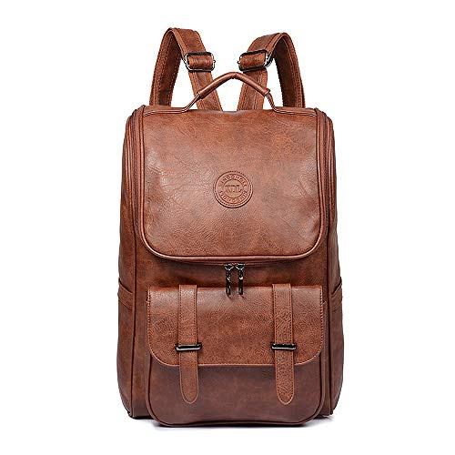 Vegan Leather Backpack Slim Vintage Laptop Backpack for Men Women,Travel Brown Water Resistant Brown College School Bookbag Weekend Daypack Bag.
