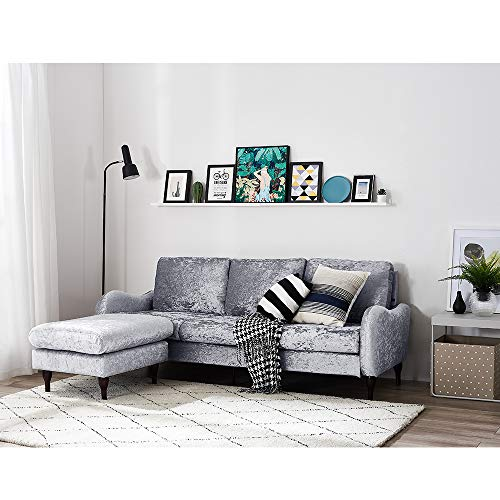 Panana 3 Seater Sofas L Shaped Sofa Settee Velvet Fabric Sofa Luxurious Corner Sofa Couch with Footstool Left or Right Chaise Modern Sofa for Living Room Home Furniture (Velvet Fabric Silver)