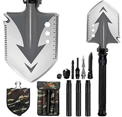 WANOSS Survival Camping Folding Shovel, Multitool with Four Section Extension Rod, Portable Tactical Tool for Hunting Camping Hiking Fishing Emergency...