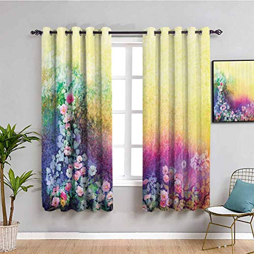 Watercolor Flower Home Decor Soundproof Privacy Window Curtains Ivy Floral Beauty in Spring Soft Natural Paradise Print Repeatable use W72 x L72 Inch Purple Yellow