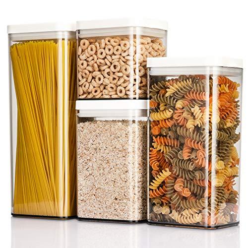 NITHER Frischhaltedosen, luftdicht, 4 Stück, Müsli-Behälter, Aufbewahrungs-Set mit Deckel, Kunststoff, transparent, Küchenorganisation für Zucker, Mehl, Snack, Tierfutter, auslaufsicher (grau)