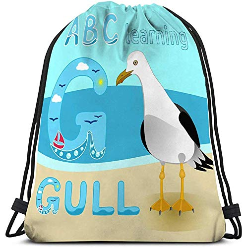 Trekkoord Tas Seagull Vogel Cartoon Karakter Gull Korte Tailed Albatross Sea Beach Fauna Grote Kids Print Anim