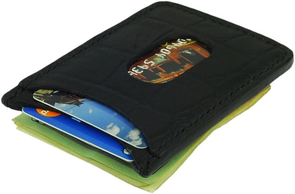 Leather Money Clip & Credit Card Holder, Crocodile Grain Leather, Handmade