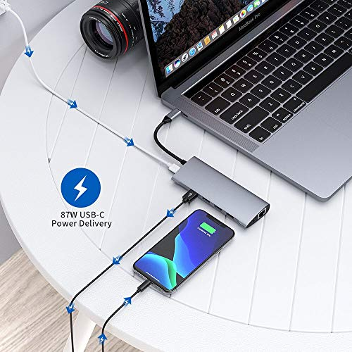 USB C Hub, Aluminium Typ C Hub Adapter Kompatibel mit MacBook Pro, USB C Stromversorgung, 4K HDMI, 1080P VGA, RJ45 Gigabit Ethernet, SD/TF Kartenleser, USB 3.0/2.0, 3,5mm Audio Hülle