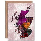 Wee Blue Coo Map Stylised Colourful Tartan Tweed Scotland