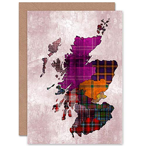 Wee Blue Coo Map Stylised Colourful Tartan Tweed Scotland Sealed Greeting Card Plus Envelope Blank Inside Carta geografica Colorato Scozia