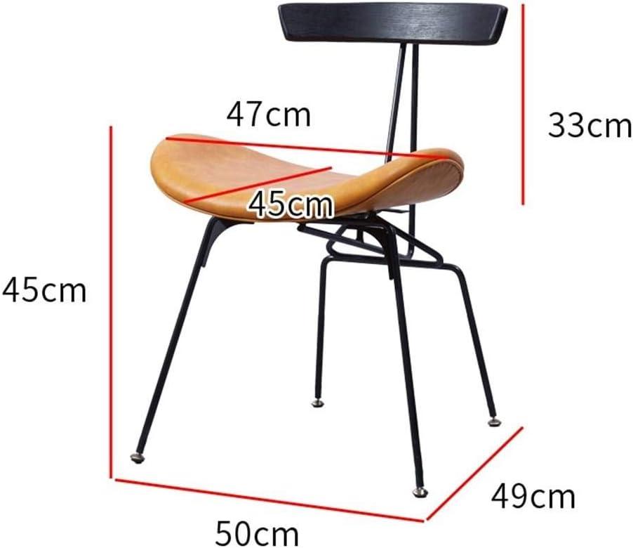 QingT Chaise de Salle à Manger Nordique/Tabouret rétro Minimaliste Moderne en Fer forgé à la Maison-Vert foncé Vert foncé