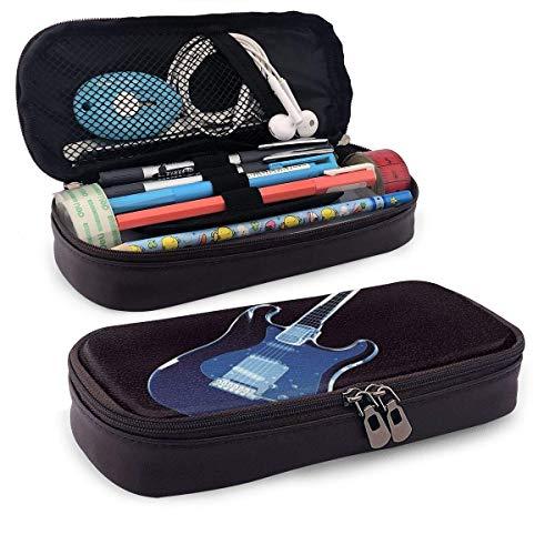 Lápices Estuche para bolígrafos Estuche para lápices de cuero Estuche para bolígrafo con cremallera para guitarra azul Estuche para papelería Estuche para lápices con cremallera