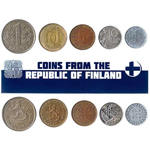 5 monete diverse - Vecchia, valuta estera finlandese da collezione per collezionismo di libri - Unico set di soldi del mondo - Regali per collezionisti