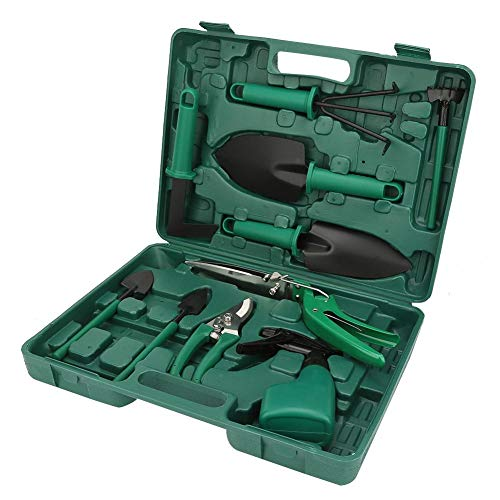 Juego de herramientas de jardín, 10 piezas Kit de inicio de herramientas de mano Kit de herramientas de mano de jardinería doméstica multifuncional Regalos de jardinería con estuche de plástico
