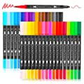 Artist Brush Markers Pens for Adult Coloring Books, 34 Colors Numbered Dual Tip (Brush and Fineliner) Art Marker Pen for Note taking Planner Hand Lettering Calligraphy Drawing Writing Journaling by Soucolor