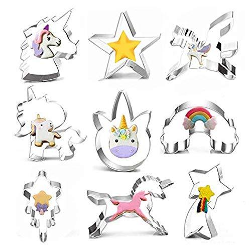 Set di 9 formine per biscotti a forma di unicorno, arcobaleno, unicorno, stella, in acciaio inox per uso alimentare, a forma di unicorno, per feste di compleanno dei bambini o feste a tema unicorno