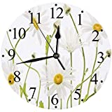 Yaoni Silencioso Wall Clock Decoración de hogar de Reloj de Redondo,Margarita Verano Flor Floral Naturaleza Macro Alto Clave Ojo de Buey Margarita daises Flores,para Hogar, Sala de Estar, el Aula