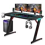 Huracan Mesa de Juegos para PC Mesa Gaming Escritorio para Computadora Fibra de Carbono Table Ergonómica PCcon Portavasos y Gancho para Auriculares