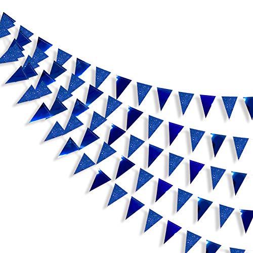 Pink Blume 30 Ft Dreieck Blau Banner Doppelseitig metallisches Papier Wimpelkette für Hochzeit, Babyparty, Brautparty, Geburtstag, Jahrestag, Partyzubehör