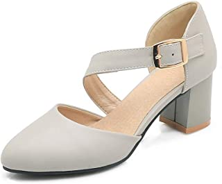 BalaMasa Womens ASL06449 Pu Block Heels