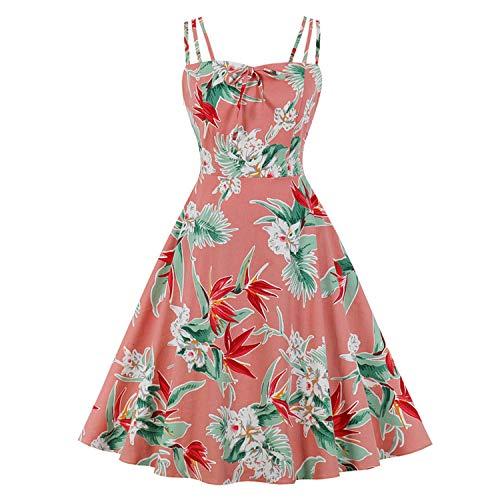 DRESSES 2020 Damen Midi-Retro-Bademantel Vintage Sommerkleid 50er 60er Pin-Up Floral...