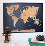 Deluxe Scratch Off World Map Poster -with US States Included - Scratchable World Travel Map - 18x24 Easy to Frame - Perfect Graduation Gift for Travelers - Designed in Hollywood, CA