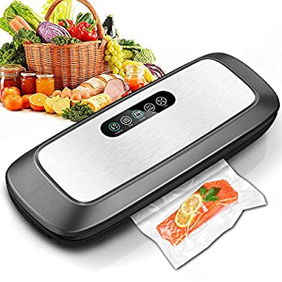 Vacuum Sealer Machine, Automatic Food Vacuum Sealer with Smart Stainless Steel Panel Touch Control, Sous Vide Vacuum Sealer Machine with Dry & Moist Sealing and Starter Kit