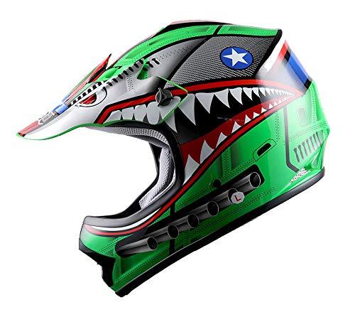 WOW Youth Kids Motocross BMX MX ATV Dirt Bike Helmet Shark Green