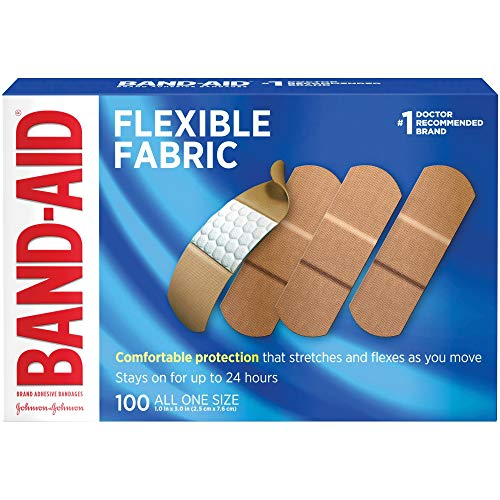 Band-Aid Brand Flexible Fabric Adhesive Bandages for Comfortable Flexible Protection & Wound Care of Minor Cuts & Scrapes, Pad Designed to Cushion Painful Wounds, All One Size, 100 ct