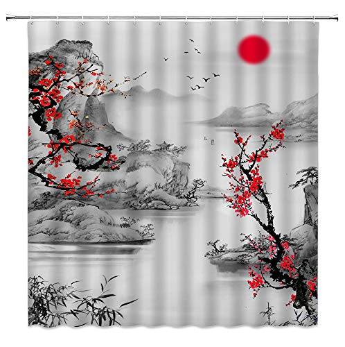 Asian Shower Curtain Red Cherry Blossom Foggy Mountain Sun Lake Classic Oriental Japanese Nature Landscape Artwork Fabric Polyester Bathroom Decor with Hooks(70' WX70 H)