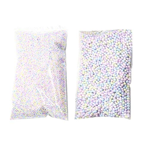 Amosfun 2 Packungen Styroporkugeln Styroporkügelchen Bunte Schaumperlen Schleim Perlen Styropor Ball Polystyrol Kugeln für Kinder DIY Handwerk Hochzeit Tischdeko
