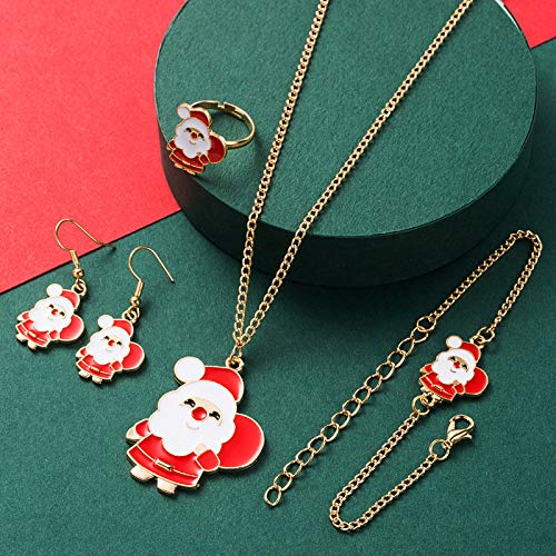 Brinote Christmas Jewelry Set Santa Claus Dangle Necklace Chain Gold Christmas Earrings for Women and Girls