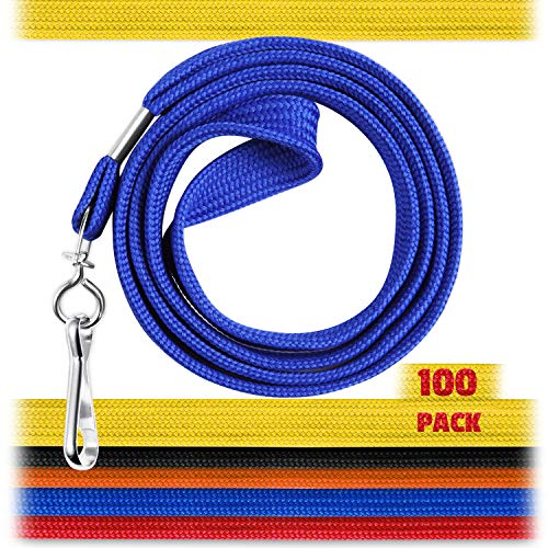 EcoEarth Lanyard Premium Tier (Mixed, 36 Inch, 100 Pack), Flat Black Lanyards for ID Badges, Badge Lanyard w Hook, ID Lanyard, Name Tag ID Holder Lanyard, Cruise Lanyard, Bulk Lanyard, Lanyard Pack