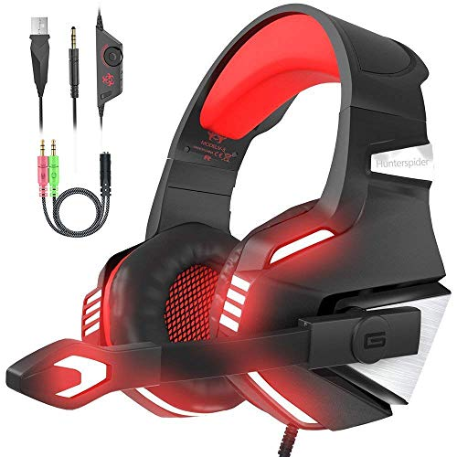 VersionTECH. Cuffie gaming per PS4 con microfono pieghevole, audio surround, luce LED, cancellazione del rumore, fascia imbottita. Compatibile con PS4/PC/Xbox One/PSP/smartphone/tablet