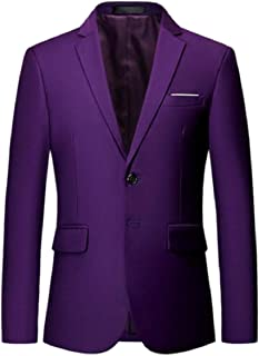 Sodossny-AU Men Two Button Slim Fit Solid Color Casual Business Coat Blazer Jacket
