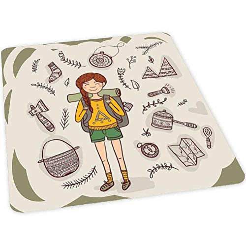 "Office Chair Mat for Hardwood and Tile Floor, Hiker Girl with a Backpack with Doodle Boho Ornate Native, 30"" x 47"" Anti-Slip, Non-Curve, Under the Desk Mat Best for Rolling Chair and Computer Desk, Mu"
