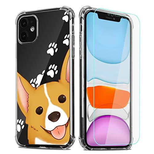 Cute Corgi Phone Case for iPhone 7 Plus/iPhone 8 Plus with Screen Protector,Corgi Paws Clear Pattern Soft & Flexible TPU Ultra-Thin Shockproof Transparent Bumper Case for iPhone-Corgi