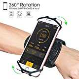 "Wristband Phone Holder,HC 360°Rotatable Universal Sports Wristband for iPhone X/8 Plus/8/7/6s,Galaxy S9 Plus/S9/S8 & Other 4""-6.5""Smartphone,Running Armband for Hiking Biking Walking (Wrist)"