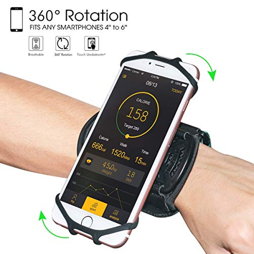 "Wristband Phone Holder,HCcolo 360°Rotatable Universal Sports Wristband for iPhone X/8 Plus/8/7/6s,Galaxy S9 Plus/S9/S8 & Other 4""-6.5""Smartphone,Running Armband for Hiking Biking Walking (Wrist)"