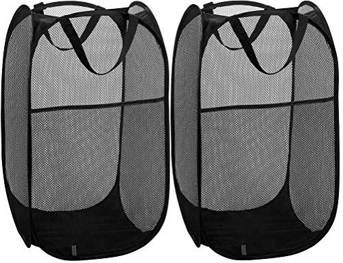 Mesh Popup Laundry Hamper - Portable Durable Handles Collapsible for Storage and Easy to Open Folding Pop-Up Clothes Hampers are Great for The Kids Room College Dorm or Travel Black  Set of 2