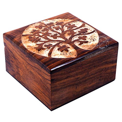 Antique Handmade Wooden Urn Tree of Life Engraving Handcarved Jewellery Box for Women-Men Jewel | Home Decor Accents | Decorative Boxes | Storage & Organiser (4.5' x 4.5' x 2.5', Rosewood Tree)