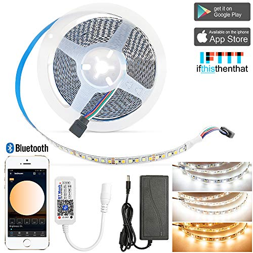 INDARUN Bluetooth CCT LED Strip Lights Kit 16.4ft 2835 900 LEDs Light Strip Dimmable Cold Warm White with BT Mesh Double Color Controller & 12V Power Plug for Living Room Bedroom Wardrobe