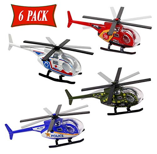 Diecast Helicopters For Kids And Toddlers Assorted Toy Helicopters - Army, Police, Medic, and Fire Helicopters Toy Set Of 6 Die Cast Helicopters For Party Favors, Prizes, Gifts, Or Cake Topper