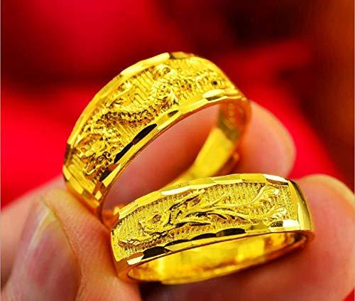 Weishu Dragon and Phoenix Gold Wedding Ring Jewelry Men