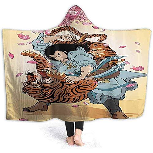 Duanrest Draagbare Hooded Deken Samurai en Tijger Hood Poncho Cape Grappige 3D Print Mannen Vrouwen Gezellige met Hooded